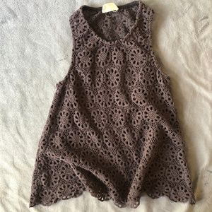 Urban Outfitters Grey Flower Lace Tank Top, Size S